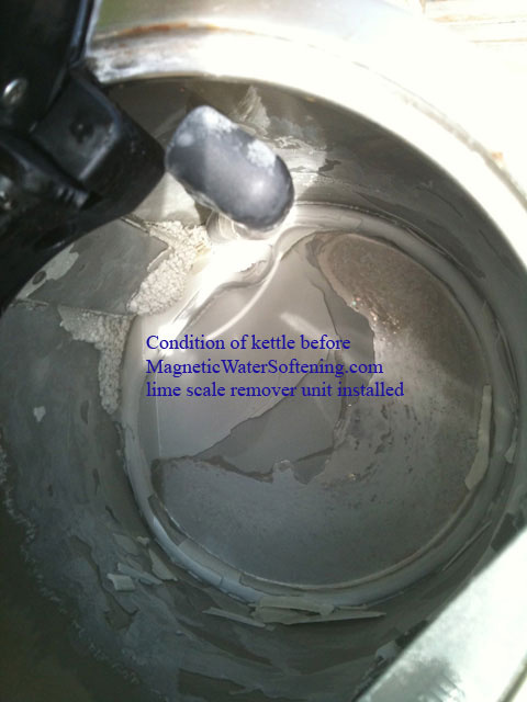 Kettle lime scale condition before installation of Magnetic Water Softener