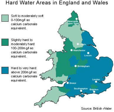 Hard water areas in United Kingdom (England)
